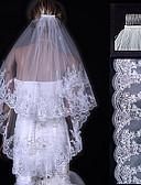 """זול הינומות חתונה-שתי שכבות אפליקצית קצה תחרה הינומות חתונה צעיפי אצבע עם 31.5 אינץ' (80 ס""""מ) טול קו A, שמלת נשף, נסיכה, חצוצרה / בת הים, נדן / טור"""