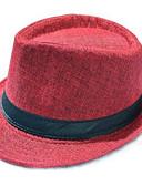 baratos Chapéu Masculino-Homens Vintage Palha,De Palha Chapéu de sol Sólido Verão Marron Vinho Khaki