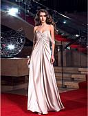 ราคาถูก Special Occasion Dresses-ชีท / คอลัมน์ คอสวีทฮาร์ท ลากพื้น ซาตินยืด แต่งตัว กับ กากะบาท โดย TS Couture®