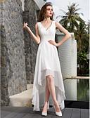 billiga Brudklänningar-A-linje V-hals Asymmetrisk Georgette Regelbundna band Liten vit klänning Bröllopsklänningar tillverkade med Veckad / Sidodraperad 2020