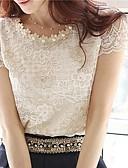 billige T-skjorter til damer-Store størrelser Bluse Dame - Ensfarget, Blonde Lys Lilla / Sommer / Blonder