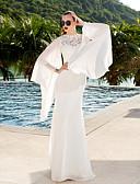 billiga Brudklänningar-Åtsmitande Prydd med juveler Svepsläp Spets / Georgette Långärmad Genomskinliga Bröllopsklänningar tillverkade med Spets 2020
