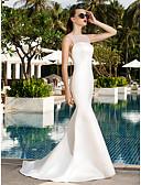 ราคาถูก Special Occasion Dresses-ทรัมเป็ต / เมอร์เมด Bateau Neck ชายกระโปรงลากพื้น ซาติน / Tulle ชุดแต่งงานที่ทำขึ้นเพื่อวัด กับ ปมผ้า โดย LAN TING BRIDE®