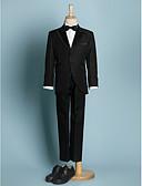 זול חליפות לנושאי הטבעת-שנהב / שחור פוליאסטר חליפה לנושא הטבעת - 5 כולל ג'קט / אבנט למותניים / חולצה
