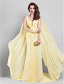 Χαμηλού Κόστους Βραδινά Φορέματα-Ίσια Γραμμή Βυθίζοντας το λαιμό Ουρά μέτριου μήκους Ζορζέτα Κομψό / Χρώματα Pastel Χοροεσπερίδα / Επίσημο Βραδινό / Εταιρικό πάρτι Φόρεμα 2020 με Πλαϊνό ντραπέ / Χιαστί