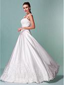 billiga Brudklänningar-A-linje Fyrkantig hals Golvlång Satäng / Spets med pärlor Regelbundna band Bröllopsklänningar tillverkade med Paljett / Applikationsbroderi 2020