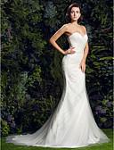 baratos Vestidos de Casamento-Tubinho Decote Princesa Cauda Corte Tule Alças Finas Vestidos de casamento feitos à medida com Cruzado / Drapeado Lateral 2020