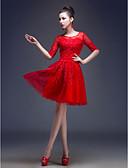 ราคาถูก Special Occasion Dresses-A-line Illusion Neckline เสมอเข่า ปักลูกปัด / ปักด้วยดอกทิวลิป รูกุญแจ ค็อกเทลปาร์ตี้ แต่งตัว กับ เลื่อม / เข็มกลัด โดย LAN TING Express / ภาพลวงตา
