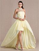 Χαμηλού Κόστους Φορέματα κοκτέιλ-Ίσια Γραμμή Illusion Seckline Ασύμμετρο Σιφόν / Τούλι Ανοικτή Πλάτη / See Through / Χρώματα Pastel Επίσημο Βραδινό Φόρεμα 2020 με Χάντρες / Που καλύπτει
