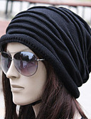cheap Women's Hats-Unisex Work Active Cotton Beanie / Slouchy-Solid Colored Pleated Winter Black Brown Gray / Fabric
