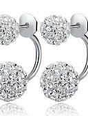 ราคาถูก นาฬิกาข้อมือ-สำหรับผู้หญิง Cubic Zirconia ต่างหูติดหู front back earrings บอลคู่ ลูกบอล สุภาพสตรี คลาสสิก สไตล์เรียบง่าย สง่างาม Bling Bling Everyday เงินสเตอร์ลิง Cubic Zirconia เลียนแบบเพชร ต่างหู เครื่องประดับ