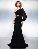 Χαμηλού Κόστους Βραδινά Φορέματα-Τρομπέτα / Γοργόνα Ένας Ώμος Ουρά μέτριου μήκους Ζορζέτα Κομψό Επίσημο Βραδινό Φόρεμα 2020 με Χάντρες / Που καλύπτει / Ζώνη / Κορδέλα