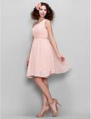 Χαμηλού Κόστους Φορέματα Παρανύμφων-Γραμμή Α Ένας Ώμος Μέχρι το γόνατο Σιφόν Φόρεμα Παρανύμφων με Πλαϊνό ντραπέ