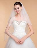 ราคาถูก ม่านสำหรับงานแต่งงาน-Two-tier Beaded Edge ผ้าคลุมหน้าชุดแต่งงาน ผ้าคลุมศรีษะสำหรับชุดแต่งงาน กับ 35.43 นิ้ว (90ซม.) Tulle