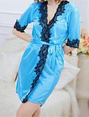 baratos Conjunto-Mulheres Estampado Tamanhos Grandes Sexy Lingerie com Renda / Roupão / Super Sensual Roupa de Noite - Renda Retalhos Fúcsia Vermelho Azul XL XXL XXXL