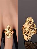 זול שמלות מיני-בגדי ריקוד נשים טבעת הטבעת מוזהב עלי כותרת של זהב 5 5 עלי כותרת מכסף ציפוי זהב סגסוגת נשים בלתי שגרתי אסייתי חתונה Party תכשיטים אומן