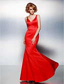 Χαμηλού Κόστους Βραδινά Φορέματα-Τρομπέτα / Γοργόνα Λαιμόκοψη V Μακρύ Σατέν Μινιμαλιστική Χοροεσπερίδα / Επίσημο Βραδινό Φόρεμα 2020 με Πλισέ