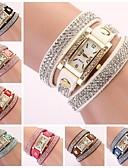 baratos Relógios de Pulseira-Mulheres Bracele Relógio Relógio de diamante Relógio Quadrado Quartzo Couro PU Acolchoado Preta / Branco / Azul Analógico senhoras Brilhante Boêmio Fashion - Azul Rosa claro Azul Claro Um ano Ciclo