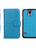 billiga Samsung-tilbehør-fodral Till Samsung Galaxy S5 Plånbok / Korthållare / Lucka Fodral Enfärgad Äkta Läder