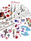 billige tatovering klistremerker-10 pcs Tatoveringsklistremerker midlertidige Tatoveringer Dyre Serier / Blomster Serier Vanntett / Ikke Giftig kropps~~POS=TRUNC / Mønster