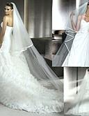 Χαμηλού Κόστους Πέπλα Γάμου-Δύο-βαθμίδων Φιόγκος Κορδέλας Πέπλα Γάμου Μακριά Πέπλα με Χτένα Λουλουδιών 94,49 ίντσες (240εκ) Τούλι / Mantilla