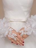 ราคาถูก ม่านสำหรับงานแต่งงาน-ลูกไม้ / ทูเล่ ความยาวข้อมือ ถุงมือ ถุงมือเจ้าสาว / ปาร์ตี้ / ถุงมือราตรี / ถุงมือลายดอกไม้สำหรับสตรี กับ หินประกาย / ดอกไม้