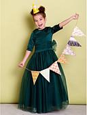 Χαμηλού Κόστους Λουλουδάτα φορέματα για κορίτσια-Γραμμή Α Μακρύ Φόρεμα για Κοριτσάκι Λουλουδιών - Σατέν / Τούλι Μισό μανίκι Με Κόσμημα με Φιόγκος(οι) / Ζώνη / Κορδέλα