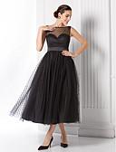 Χαμηλού Κόστους Φορέματα Παρανύμφων-Γραμμή Α Illusion Seckline Κάτω από το γόνατο Τούλι Κομψό Κοκτέιλ Πάρτι / Χοροεσπερίδα Φόρεμα 2020 με Ζώνη / Κορδέλα