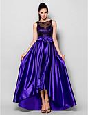 Χαμηλού Κόστους Φορέματα Ξεχωριστών Γεγονότων-Γραμμή Α Illusion Seckline Ασύμμετρο Ελαστικό Σατέν Ανοικτή Πλάτη / See Through Επίσημο Βραδινό Φόρεμα 2020 με Χάντρες / Φιόγκος(οι) / Δαντέλα