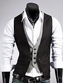 billiga Herrblazers och kostymer-Herr Arbete Vest, Enfärgad Ärmlös Bomull / Polyester Svart / Brun / Affärsformell / Smal