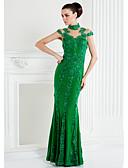 Χαμηλού Κόστους Βραδινά Φορέματα-Εφαρμοστό & Εμβαζέ Illusion Seckline Μακρύ Σιφόν / Φλοράλ δαντέλα Κινέζικο Στυλ / Illusion Λεπτομέρειες Κοκτέιλ Πάρτι / Χοροεσπερίδα / Επίσημο Βραδινό Φόρεμα 2020 με Διακοσμητικά Επιράμματα