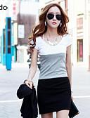 baratos Relógios-Mulheres Trabalho Chique & Moderno Algodão Tubinho Vestido - Estilo Moderno, Estampa Colorida Retalhos Acima do Joelho