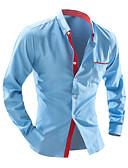 Χαμηλού Κόστους Γυναικεία Φορέματα-Ανδρικά Πουκάμισο Δουλειά Κομψό στυλ street - Βαμβάκι Πουά Λευκό / Μακρυμάνικο