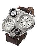 ราคาถูก นาฬิกาข้อมือหรูหรา-สำหรับผู้ชาย นาฬิกาข้อมือ นาฬิกาอิเล็กทรอนิกส์ (Quartz) หนัง ดำ นาฬิกาใส่ลำลอง ระบบอนาล็อก เสน่ห์ - กาแฟ ฟ้า น้ำตาลเข้ม / สแตนเลส