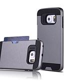 ราคาถูก เคสสำหรับโทรศัพท์มือถือ-Case สำหรับ Samsung Galaxy S7 edge / S7 / S6 edge plus Card Holder ปกหลัง สีพื้น พีซี