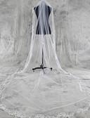 ราคาถูก ม่านสำหรับงานแต่งงาน-ชั้นเดียว งานผ้าขอบลายลูกไม้ ผ้าคลุมหน้าชุดแต่งงาน ผ้าคลุมศรีษะสำหรับชุดแต่งงาน / ผ้าคลุมหน้าในโบสถ์ กับ เข็มกลัด Tulle / Angel cut / Waterfall