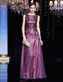 ราคาถูก Special Occasion Dresses-ชีท / คอลัมน์ Illusion Neckline ลากพื้น Charmeuse / เลื่อม แต่งตัว กับ เลื่อม / เข็มกลัด โดย