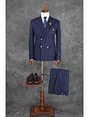 billige Dresser-Blæk Blå Rutet / gingham Skreddersydd Polyester Dress - Med hakk Dobbelt-brystet Fire-knappet / drakter