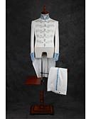 preiswerte Anzüge-Elfenbein Muster Reguläre Passform Polyester Anzug - Mandarinkragen Einreiher - Mehr Knöpfe / Anzüge
