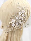 baratos Vestidos para as Mães dos Noivos-Zircônia Cubica / Liga Flores com 1 Casamento / Ocasião Especial Capacete
