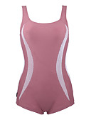 ราคาถูก ชุดว่ายน้ำ Tankini-สำหรับผู้หญิง แข็ง กีฬา Color Block คล้องไหล่ สีเขียว สีน้ำตาลอ่อน ชิ้นหนึ่ง ชุดว่ายน้ำ - ลายต่อ L XL XXL สีเขียว / Push-up / ไร้สาย / รองพื้นบรา