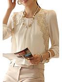baratos Casacos para mulheres-Mulheres Blusa - Trabalho Básico Renda / Franzido, Sólido Gola Redonda Branco