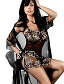 povoljno Ogrtači i odjeća za spavanje-Žene Mrežica Babydoll / slip haljina Noćno rublje - Čipka Cvjetni print Crn L XL XXL / V izrez / Slim