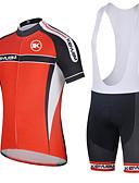 ราคาถูก กางเกงผู้หญิง-KEIYUEM สำหรับผู้หญิง แขนสั้น Cycling Jersey with Shorts สลับ จักรยาน ถุงน่องการขี่จักรยาน ชุดออกกำลังกาย กันน้ำ กันลม ระบายอากาศ แห้งเร็ว กีฬา ตารางไขว้ ผ้าขนแกะ สลับ เสื้อผ้าถัก / ยืด