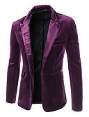 povoljno Muški sakoi i odijela-Muškarci Party / Ležerno / za svaki dan / Rad Normalne dužine Sako, Jednobojni Zašiljeni rever Dugih rukava Akril / Poliester Crn / purpurna boja / Lila-roza