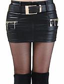 Χαμηλού Κόστους Γυναικείες Φούστες-Γυναικεία Εφαρμοστό Κομψό στυλ street Εξόδου PU Μίνι Φούστες - Μονόχρωμο Σκίσιμο Μαύρο Κόκκινο M L XL / Sexy / Λεπτό