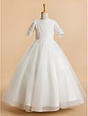 Χαμηλού Κόστους Λουλουδάτα φορέματα για κορίτσια-Γραμμή Α Κάτω από το γόνατο Φόρεμα για Κοριτσάκι Λουλουδιών - Τούλι Κοντομάνικο Με Κόσμημα με Δαντέλα / Πρώτη Κοινωνία