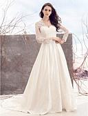 billiga Brudklänningar-A-linje V-hals Kapellsläp Spets på satin Långärmad Genomskinliga / Illusion Detalj Bröllopsklänningar tillverkade med Spets 2020 / Royal Style