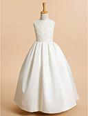 Χαμηλού Κόστους Λουλουδάτα φορέματα για κορίτσια-Γραμμή Α Μέχρι τον αστράγαλο Φόρεμα για Κοριτσάκι Λουλουδιών - Δαντέλα / Σατέν Αμάνικο Με Κόσμημα με Δαντέλα / Πρώτη Κοινωνία