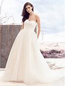 billiga Brudklänningar-A-linje Hjärtformad urringning Hovsläp Tyll Axelbandslös Bröllopsklänningar tillverkade med Bård / Korsvis 2020